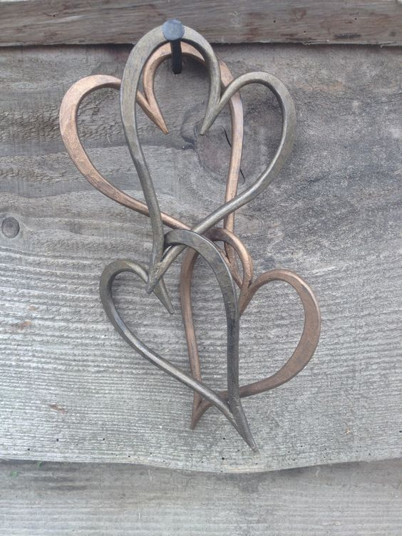 New Bronze and Antique Bronze finish, medium size linked hearts