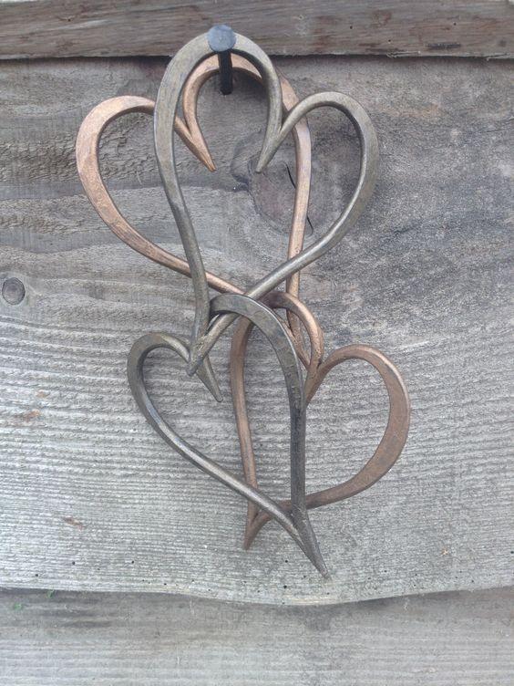 New Bronze and Antique Bronze finish, medium size linked hearts